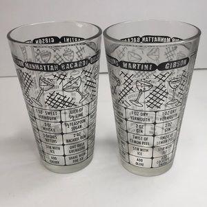 Vintage set 2 mixer glasses with recipes Barware